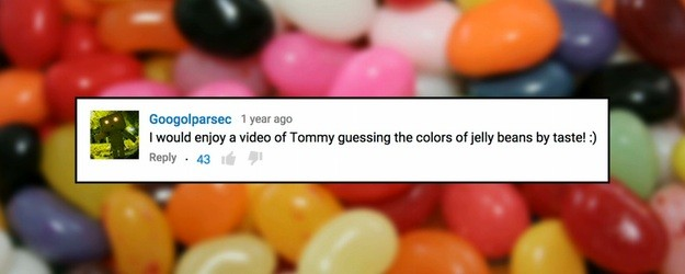 Tommy Edison, who has been blind since birth, tries to guess the color of jelly beans by their taste. Directed/Edited by Ben Churchill http://benchurchill.com —— Follow Tommy Edison http://facebook.com/tommyedison http://twitter.com/blindfilmcritic http://instagram.com/blindfilmcritic http://blindfilmcritic.tumblr.com Follow Ben Churchill http://facebook.com/benjchurchill http://twitter.com/benjchurchill http://instagram.com/benjchurchill http://youtube.com/RadioTripPictures http://benchurchill.com —— RELATED VIDEOS: Guessing The Color of Scented Markers Can […]